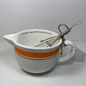 Pumpkin Spice & Everything Nice Bowl & Whisk